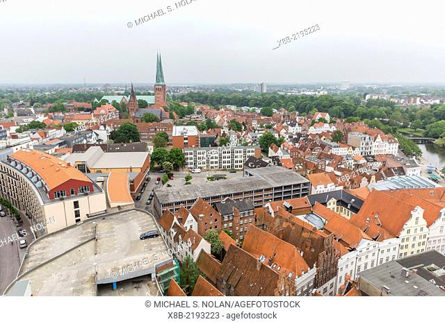 An aerial view looking north of the medieval city of Lübeck from atop St. Petri's church Lübeck, Germany