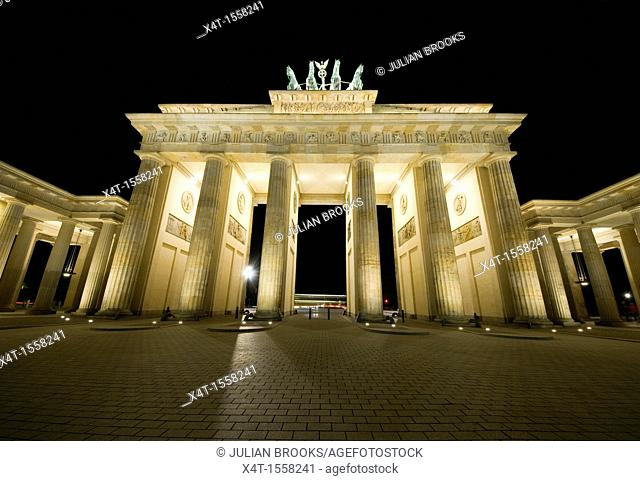 Extreme wideangle, looking up at the Brandenburg gate in Berlin, Germany