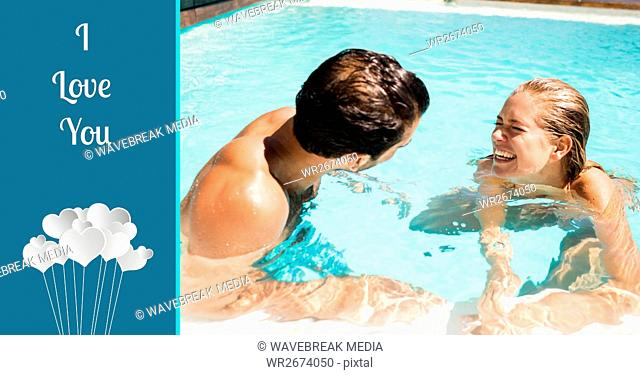 Composite image of I love you text with couple enjoying in pool