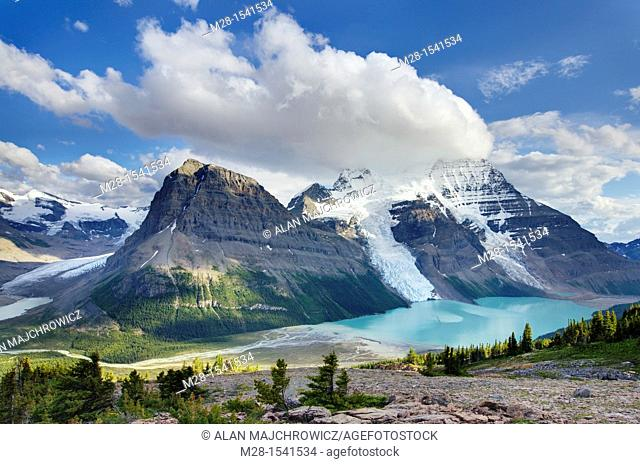 Mount Robson 3,954 m 12,972 ft and Berg Lake from Mumm Basin, Mt  Robson Provincial Park British Columbia Canada