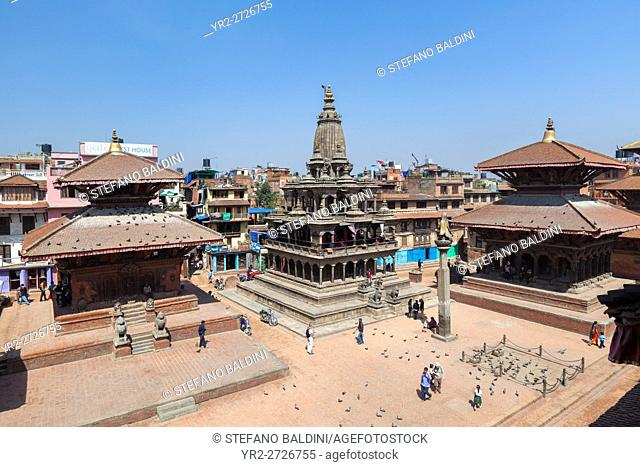 Durbar square with Krishna Mandir temple in the centre, Durbar Square, Patan, Nepal