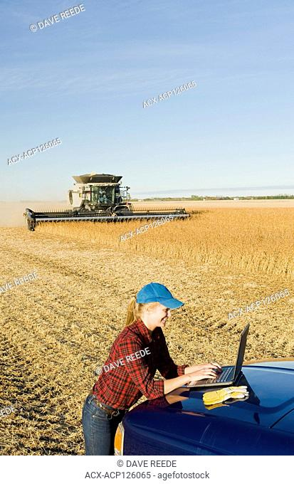 a farm girl uses a laptop computer as a combine harvester work a field during the soybean harvest, near Lorette, Manitoba, Canada