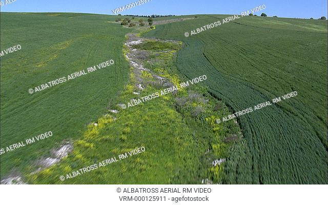 Aerial footage of a field in Ramot Menashe