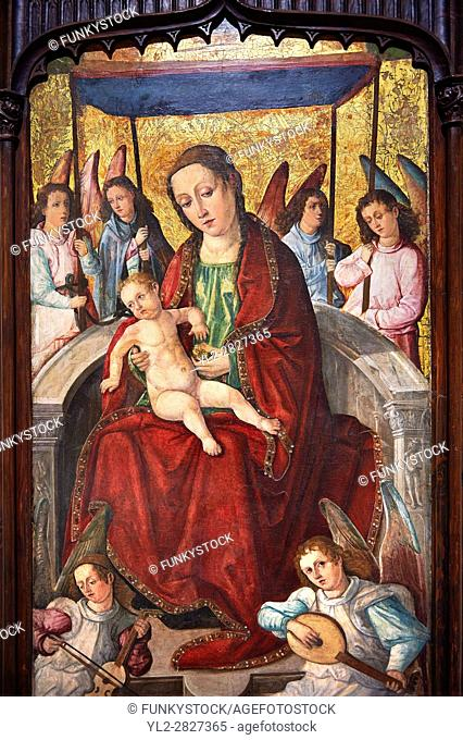 Gothic Altarpiece of Madonna and Child by Francesc d'Orsona of Valencia, circa 1500-1505, tempera and gold leaf on wood, from the monastery of Sant Jeroni de...