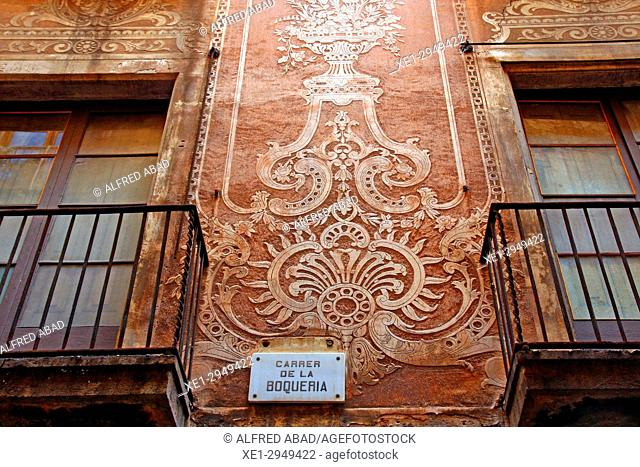 Wall decorated with sgraffito on Boqueria street, Ciutat Vella district, Barcelona, Catalonia, Spain