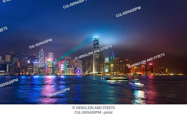 Central Hong Kong skyline and Victoria harbor at night, Hong Kong, China