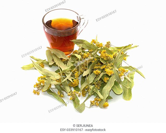 transparent mug of lime tea, and nearby linden flowers, a subject medicinal drinks for health