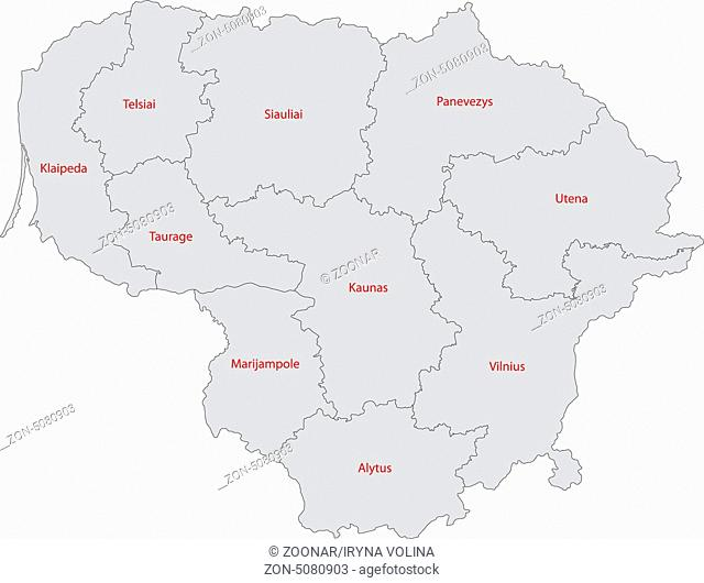 Grey Lithuania map