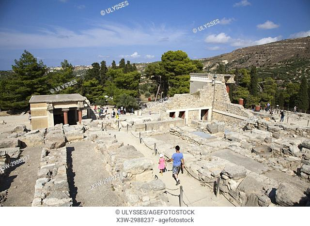 View with Halls of lustral basin and North pillar hall, Knossos palace archaeological site, Crete island, Greece, Europe