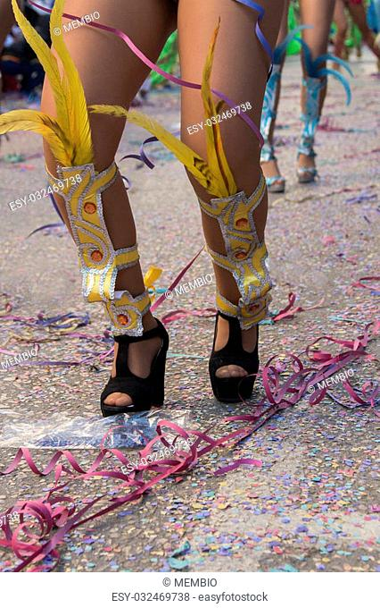 Close up view of a woman's legs in a Carnival parade