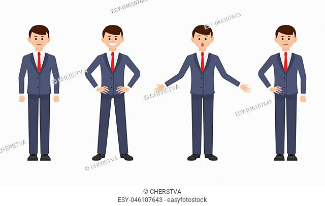 Young businessman in dark blue suit cartoon character. Vector illustration of smart male clerk in different poses