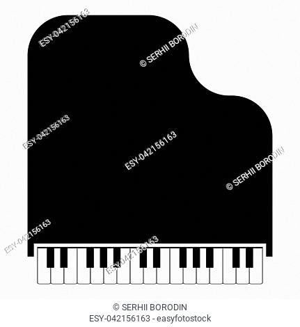 Grand piano icon black color vector illustration flat style simple image