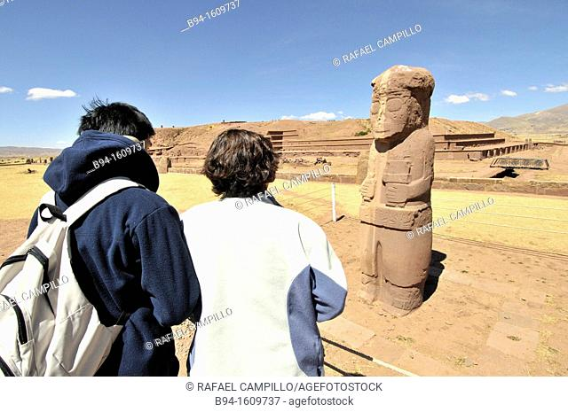 Tiwanaku ruins, (Spanish: Tiahuanaco and Tiahuanacu) is an important Pre-Columbian archaeological site in western Bolivia. Fraile monolith