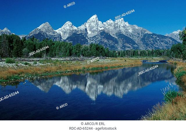 Teton Range view from Schwabacher Landing Grand Teton national park Wyoming USA