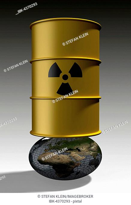 Barrel with nuclear waste on deformed globe, nuclear waste pollutes the earth