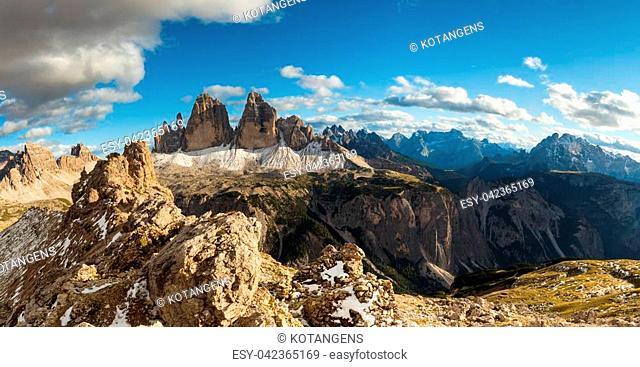 Scenic view of Italian Dolomites, Lavaredo, sunny day