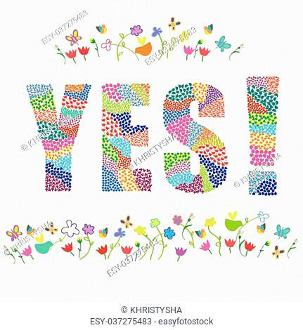 Yes word vector graphic illustration design art