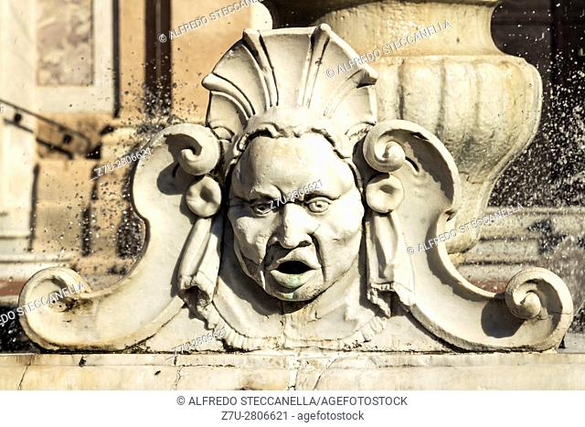 Detail of the water fountain of in Savona, Italy