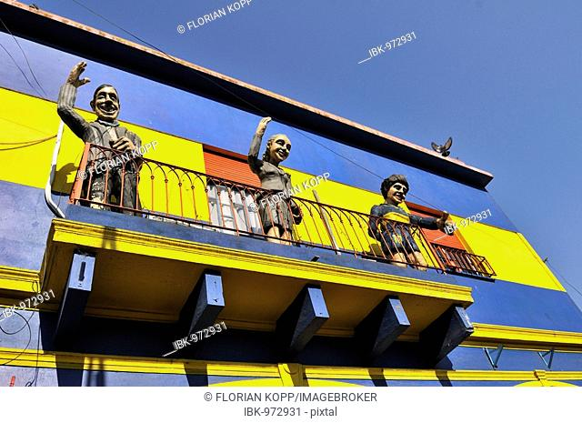 V.l. Carlos Gardel, Evita Peron, Diego Maradona, cardboard cut-outs on a balcony in the dock area La Boca, Buenos Aires, Argentina, South America