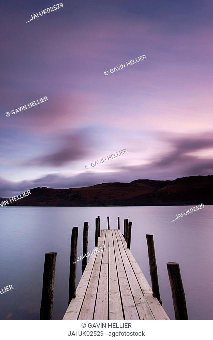 Brandelhow Bay jetty, Derwentwater, Keswick, Lake District, Cumbria, England