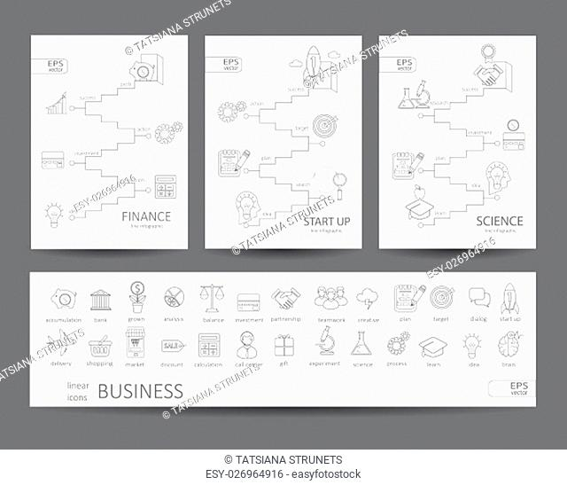 Modern thin line icons set and infographics of finance, science, start up concept. For web, internet, mobile apps, interface design