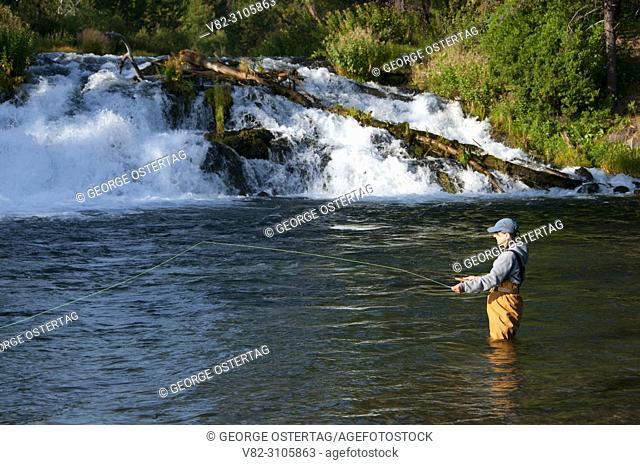 Flyfishing at Fall River Falls, LaPine State Park, Oregon