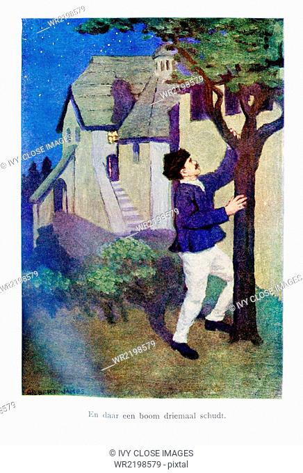The caption for this illustration reads: there a tree three times shakes. In Serbian myths, knocking or shaking a tree was an action to get the spirit of the...