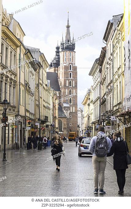 KRAKOW POLAND ON SEPTEMBER 24, 2018: Ulika Florianska, the main street in the old city