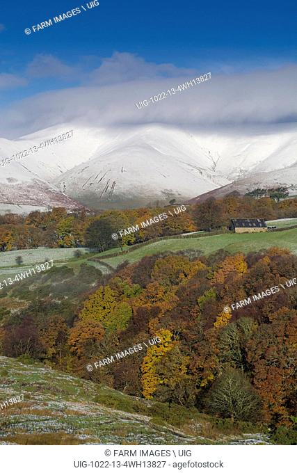 Eastern Howgill Fells near Sedbergh covered in early winter snow
