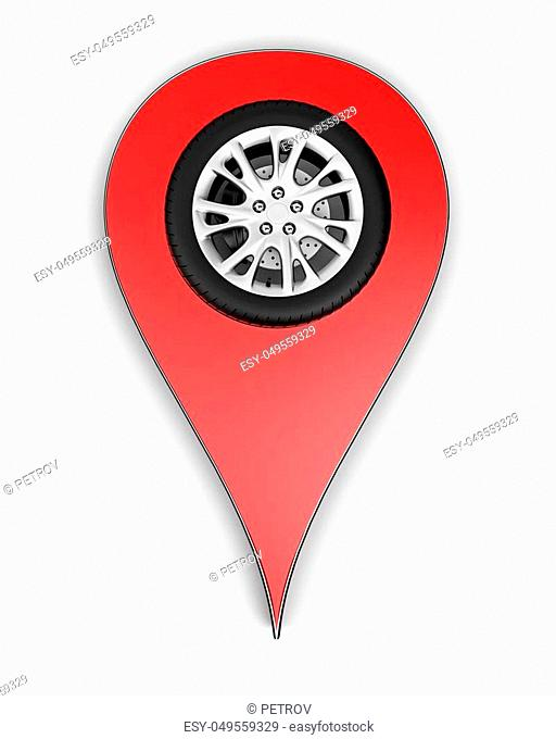 map pin with wheel isolated on white. 3d rendering