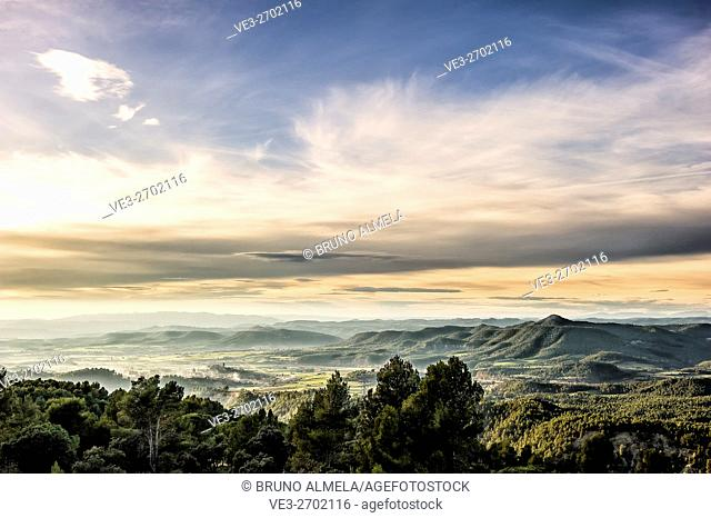 View of Artés and Montcogul mountain range (Province of Barcelona, Catalonian, Spain)