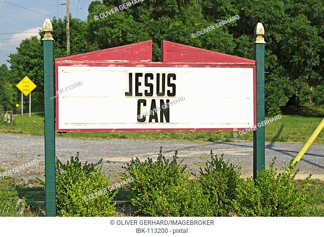 Sign Jesus can, West Virginia, USA