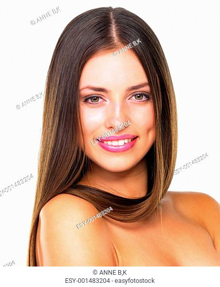 Closeup of fresh beauty with perfect smile over white background