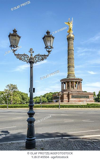 Antique street lantern at the Berlin Victory Column at Tiergarten Park, Germany