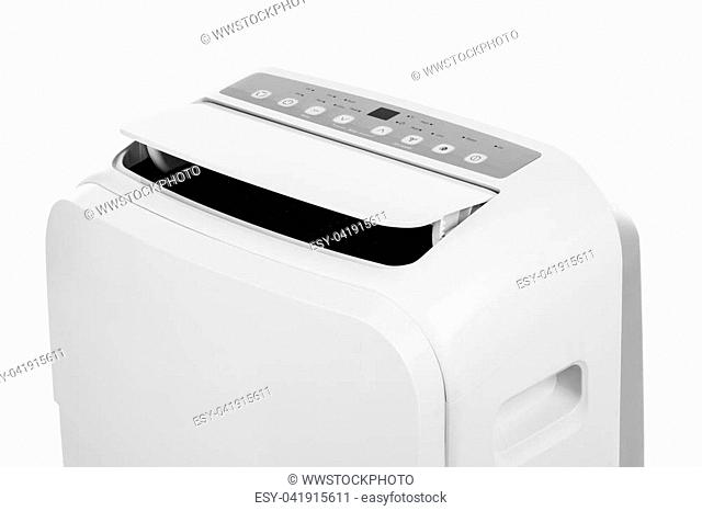 Studio closeup product shot of a portable air conditioner or mobile dehumidifier isolated on white background with copy space