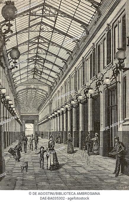 The Galleria Umberto I in Turin, Italy, illustration from Il Secolo Illustrato della Domenica, Year II, No 30, April 27, 1890