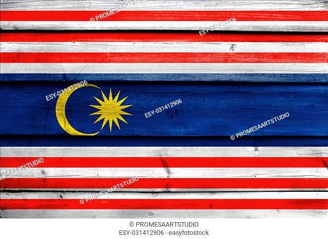 Flag of Kuala Lumpur, painted on old wood plank background