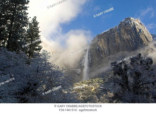 Upper Yosemite Fall waterfall after a spring snow storm, Yosemite National Park, California