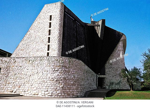 Church of Saint John the Baptist or dell'Autostrada del Sole, 1964, architect Giovanni Michelucci, Florence, Tuscany. Italy, 20th century