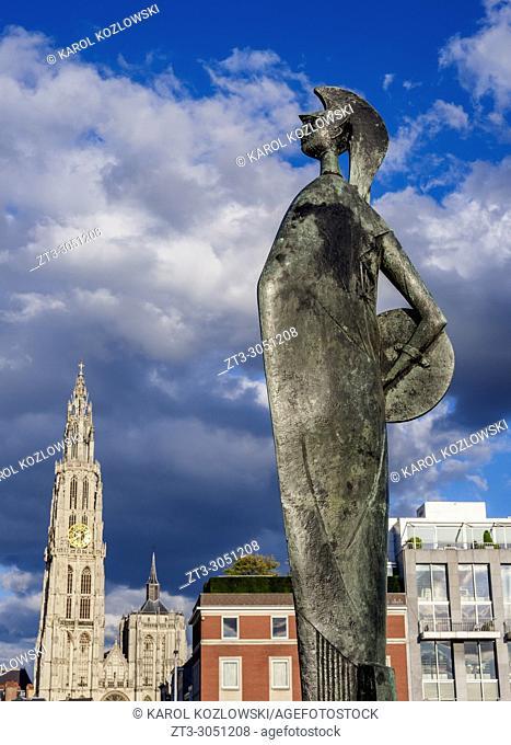 Statue of Minerva, Steenplein, Antwerp, Belgium
