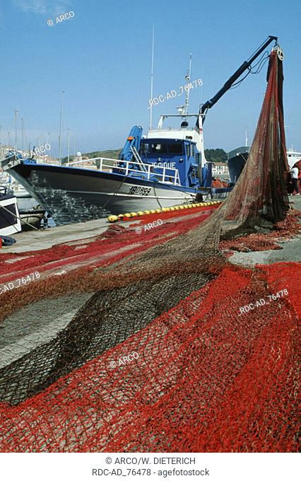 Fishing boat with nets in harbour Port Vendres Languedoc-Roussillon France