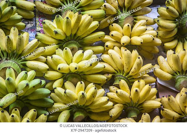 Bananas,fruit stall, in Floating Market, Bangkok, Thailand