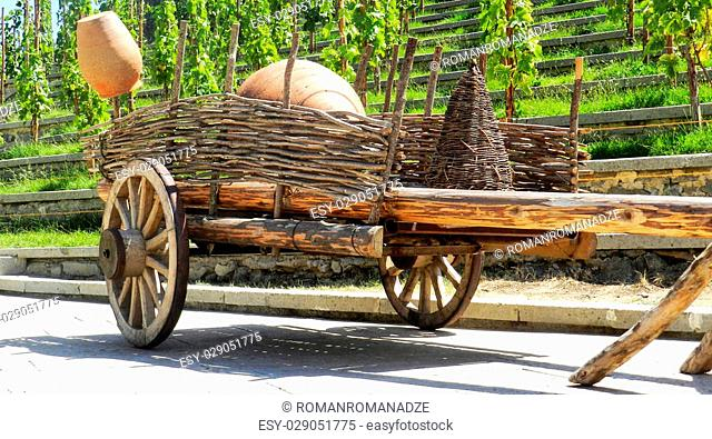 Old wagons used to transport the grapes in Georgia