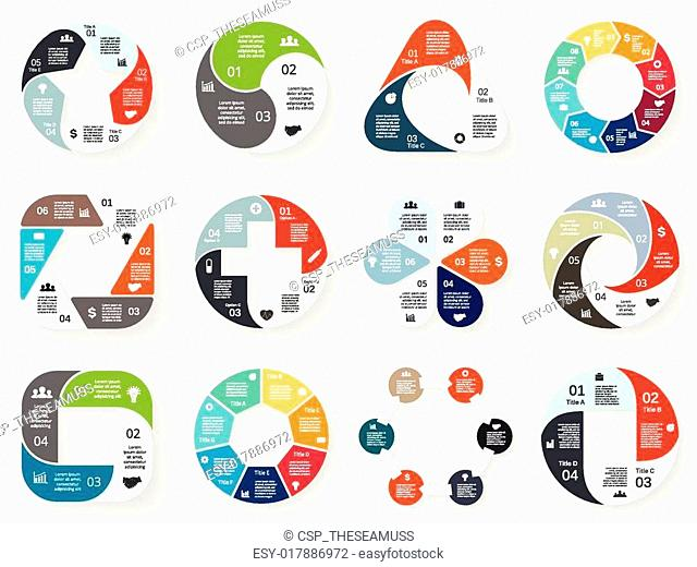 Vector circle infographic. Template for cycle diagram, graph, presentation and round chart. Business concept with 3, 4, 5, 6, 7, 8 options, parts