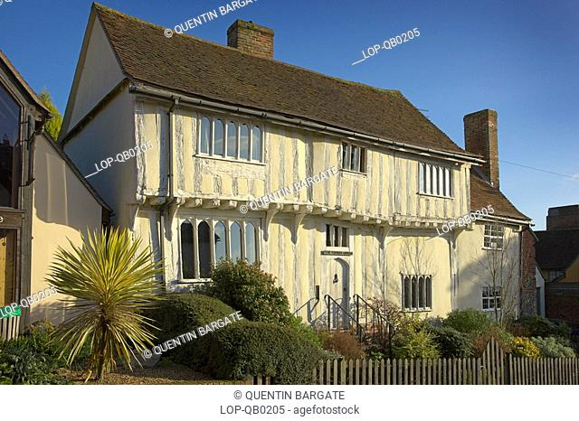 England, Suffolk, Lavenham, A traditional timber framed coach house in Lavenham