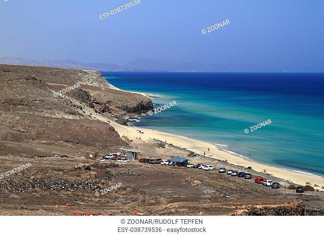 The famous lagoon in Playa Del Mar Nombre, Fuerteventura