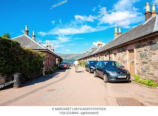 Stone cottages in Luss, Loch Lomond, Scotland. Luss is small, picturesque village in Argyll & Bute, Scotland, on the west bank of Loch Lomond
