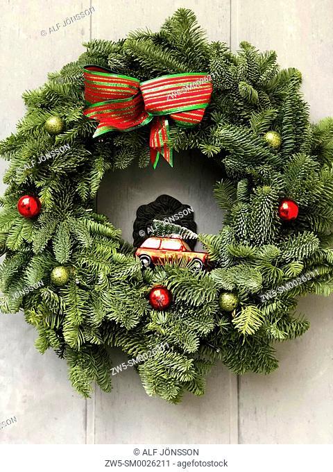 Christmas decoration on a door in Ystad, Scania, Sweden
