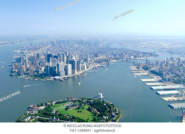 Aerial of Governors island and back South Manhattan and Brooklyn Heights, New York city, North America