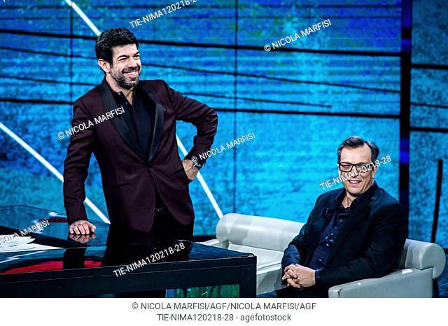 The actor Pierfrancesco Favino, the director Gabriele Muccino during the tv show Che tempo che fa, Milan, ITALY-11-02-2018